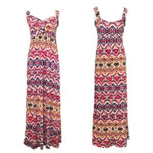 NY Collection Abstract Print Colorful Maxi Dress